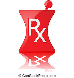 Pharmacy icon - Glossy illustration of a red pharmacy icon