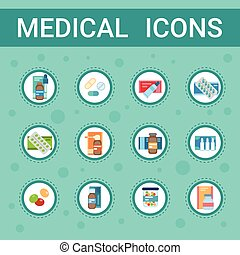 Pharmacy Icon Pills Set Medical Health Care Clinics Hospital Service Medicine Drugs Collection