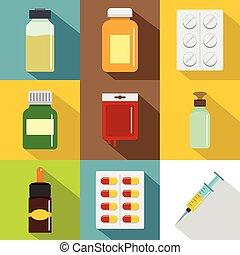 Pharmacy icon set, flat style