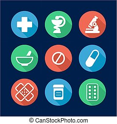 Pharmacy Icons Flat Design Circle