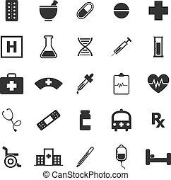 Pharmacy icons on white background