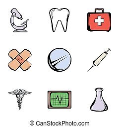 Pharmacy icons set, cartoon style
