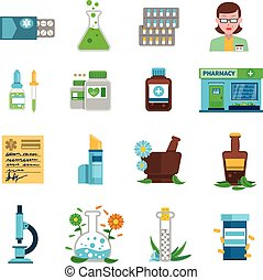 Pharmacy Icons Set - Pharmacy icons set with medical shop...