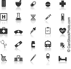Pharmacy icons with reflect on white background