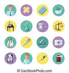 Pharmacy In Circle Icon Set - Pharmacy and science equipment...