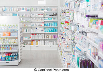 Pharmacy Interior - Pharmacy interior with shalldow depth of...