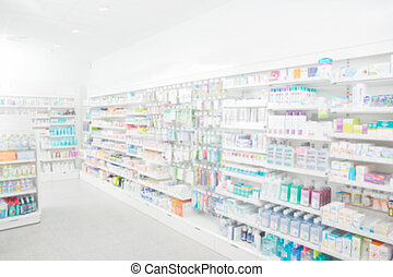 Pharmacy Interior - Pharmacy interior with blurred...