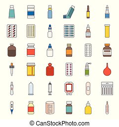 Pharmacy item, such as medicine, antibiotic, plaster, cough syrup, nasal spray, condom, dropper, cotton bud, syringe, painkiller, mouth spray, antiseptic cream, filled outline icon pixel perfect