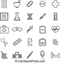 Pharmacy line icons on white background