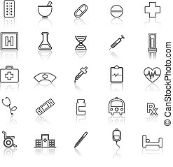 Pharmacy line icons with reflect on white background