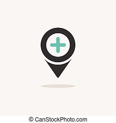 Pharmacy location. Icon with shadow on a beige background. Hospital vector illustration