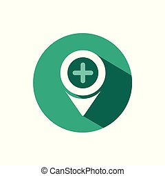 Pharmacy location icon with shadow on a green circle. Vector pharmacy illustration
