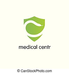 Pharmacy Logo Medicine  snake,shield design vector template. Medical clinic infinity loop Logotype concept icon.