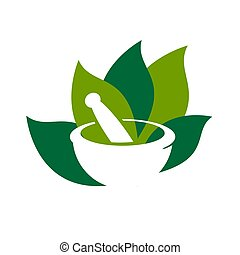 pharmacy medical logo, natural mortar and pestle logotype