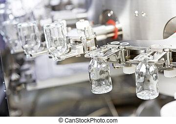 pharmacy medicine glassware at washing - pharmaceutical...
