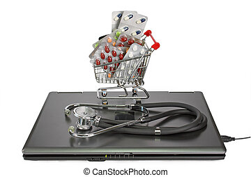 Pharmacy - Notebook with stethoscope and a shopping trolley ...