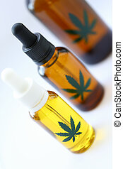 Pharmacy oil marijuana on a white background