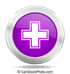 pharmacy round glossy pink silver metallic icon, modern design web element