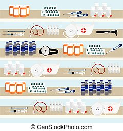 Pharmacy shelves background - Health care conceptual...