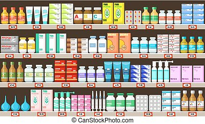 Pharmacy shelves with medicine. Vector illustration