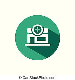 Pharmacy shop icon with shadow on a green circle. Vector pharmacy illustration