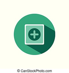 Pharmacy sign icon with shadow on a green circle. Vector pharmacy illustration