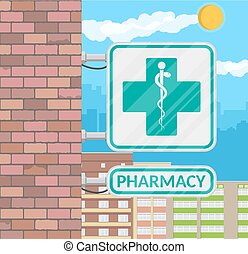 Pharmacy sign on wall. - Caduceus icon. Symbol of...
