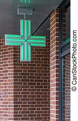 Pharmacy sign - Green cross illumunated pharmacy sign