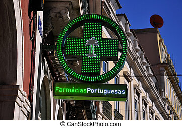 Pharmacy sign - Portugal City Pharmacy sign symbol city