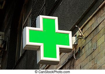 Pharmacy sign on the street