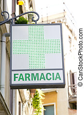 Pharmacy sign at the wall