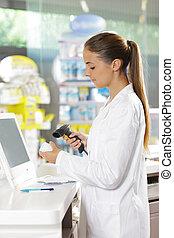pharmacy:, skandere, en, pilleglasset
