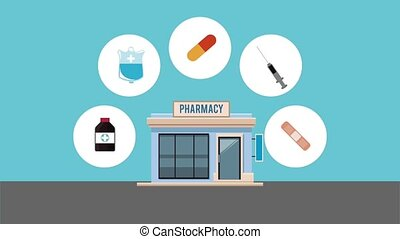 Pharmacy store building HD animation