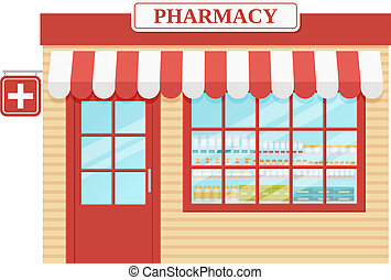 Pharmacy store front. Vector illustration. Drugstore, storefront medical shop.