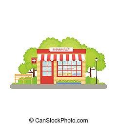 Pharmacy store front. Vector illustration in flat design.