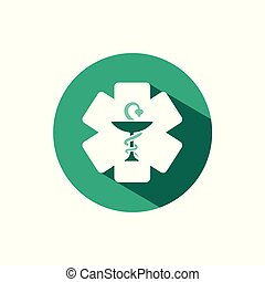 Pharmacy symbol icon with shadow on a green circle. Vector pharmacy illustration