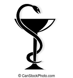 Pharmacy symbol medical snake and cup. Vector emblem for ...