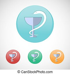Pharmacy symbol. Snake and cup vector icon set.