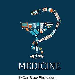 Pharmacy symbol with medical flat icons