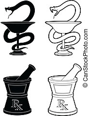 Illustration of pharmacy symbols. One is the Snake and cup symbol and the other is the mortar and pestle symbol. In simple black and white style.