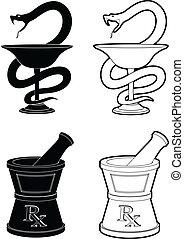 Pharmacy Symbols - Illustration of pharmacy symbols. One is...