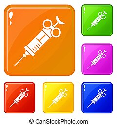 Pharmacy syringe icons set color