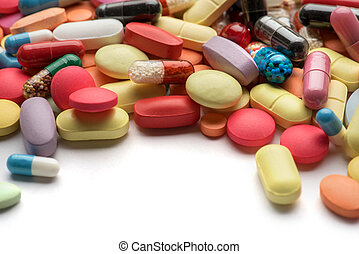 Pharmacy theme. Multicolored Isolated Pills and Capsules.