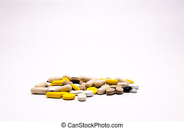 Pharmacy theme Multicolored Isolated Pills and Capsules