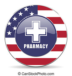 Pharmacy usa design web american round internet icon with shadow on white background.