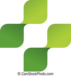 Pharmacy vector logo, medical symbol cross of green leaves.