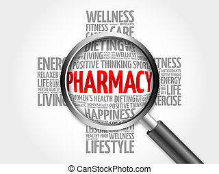 Pharmacy word cloud with magnifying glass