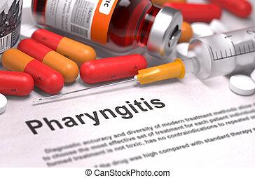 pharyngitis, diagnosis., medizin, concept.