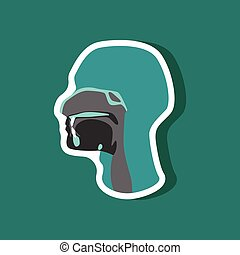pharynx paper sticker on stylish background