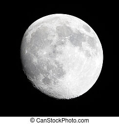 Phase of the moon on a dark sky
